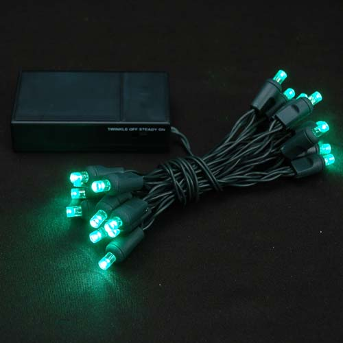 Green 20 Light Battery Operated Christmas Lights On Green