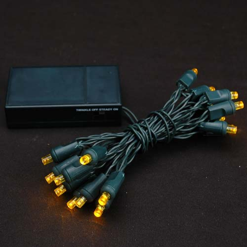 Yellow 20 Light Battery Operated Christmas Lights On Green
