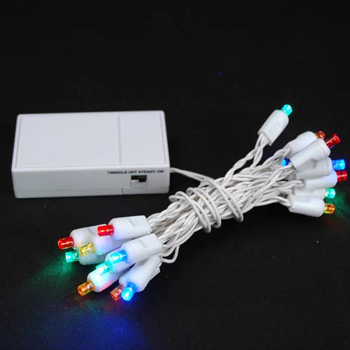 20 led battery operated christmas lights multi on white wire novelty lights inc. Black Bedroom Furniture Sets. Home Design Ideas