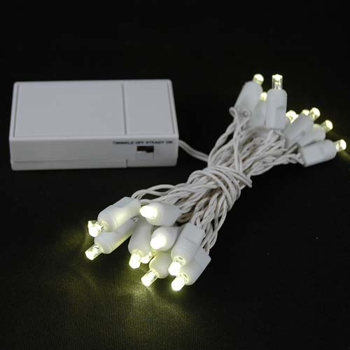 Battery Operated Led String Lights Warm White : 20 LED Battery Operated Lights Warm White on White Wire - Novelty Lights Inc