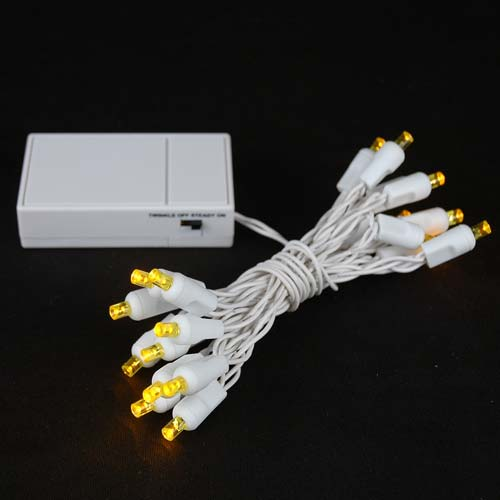 Picture of 20 LED Battery Operated Lights Yellow White Wire
