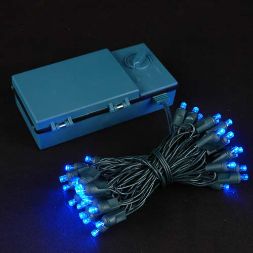 50 Led Battery Operated Christmas Lights Blue On Green