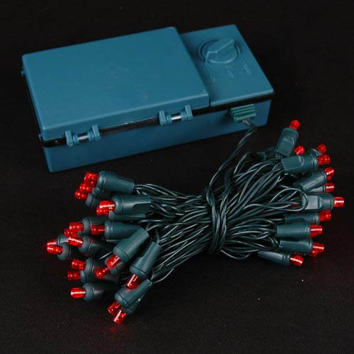 50 Led Battery Operated Christmas Lights Red On Green Wire