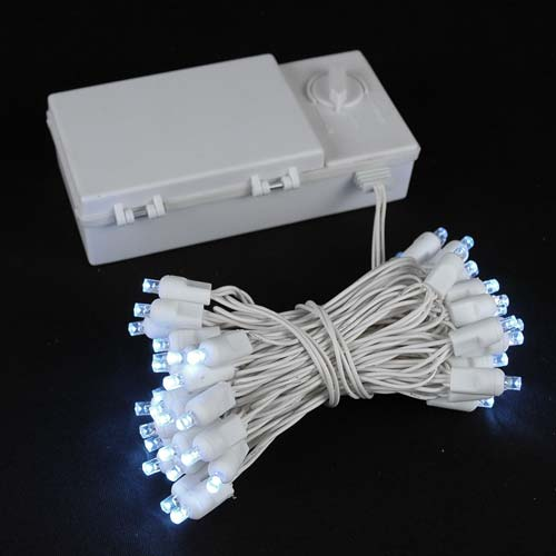 Picture of 50 LED Battery Operated Lights Pure White on White Wire