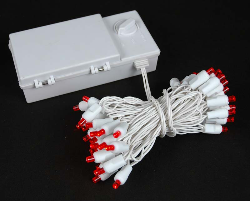 Picture of 50 LED Battery Operated Lights Red on White Wire