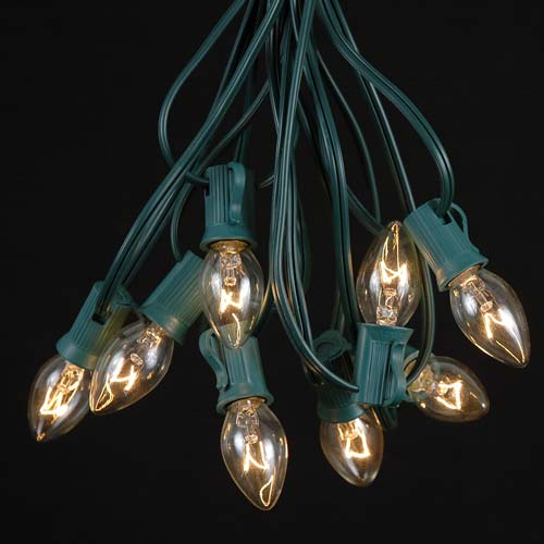 Picture of C7 25 Light String Set with Clear Bulbs on Green Wire