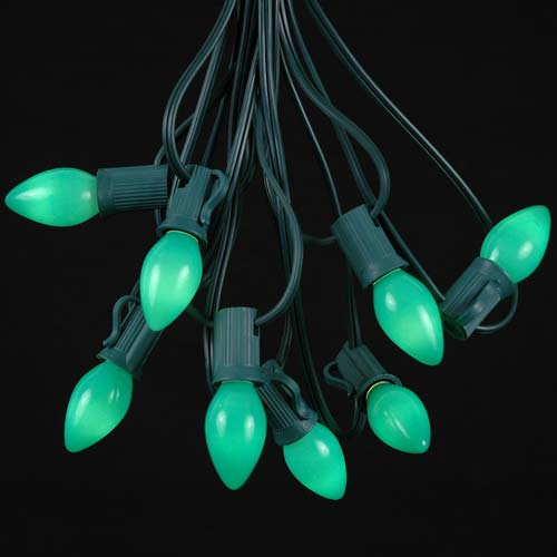 Green Ceramic C7 Outdoor String Light Set On Green Wire
