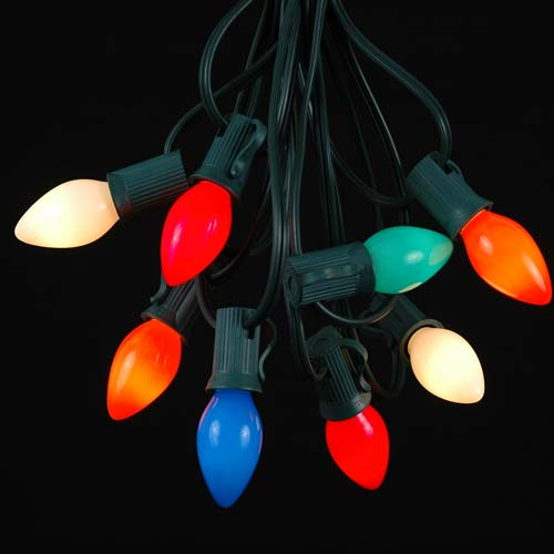 Picture of 25 Light String Set with Multi Ceramic C7 Bulbs on Green Wire