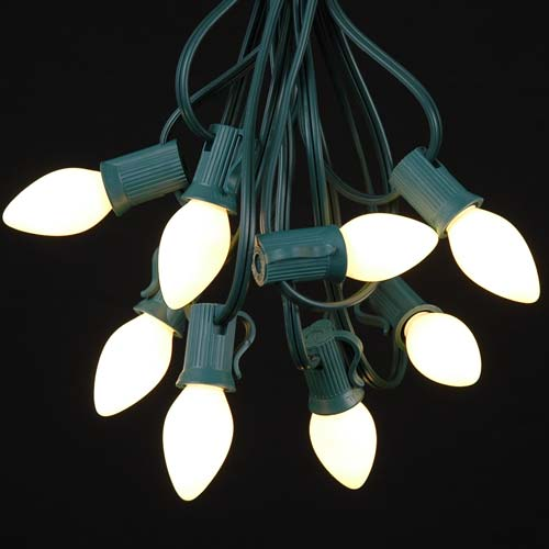White Ceramic C7 Outdoor String Light Set on Green Wire - Novelty Lights, Inc
