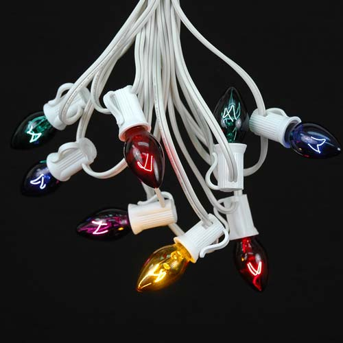 Picture of 25 Light String Set with Assorted Transparent C7 Bulbs on White Wire