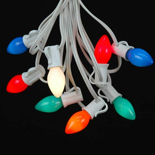 Assorted/Multi Ceramic C7 Outdoor String Light Set on White Wire - Novelty Lights, Inc
