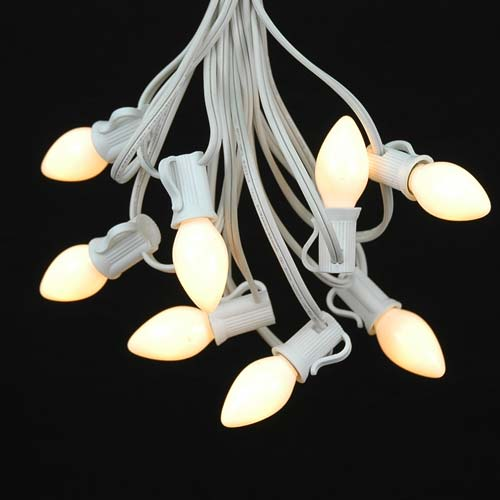 String Lights With White Wire : White Ceramic C7 Outdoor String Light Set on White Wire - Novelty Lights, Inc