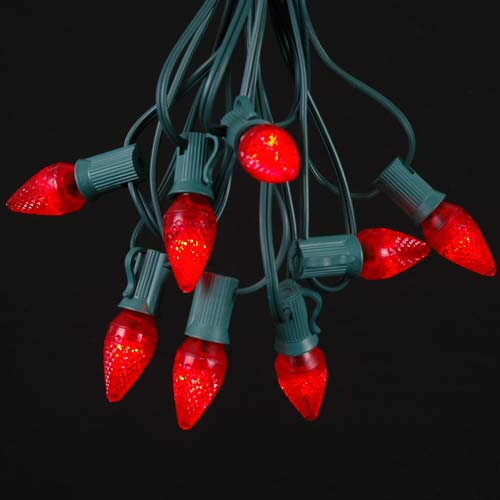 Red LED C7 Outdoor String Light Set on Green Wire - Novelty Lights, Inc