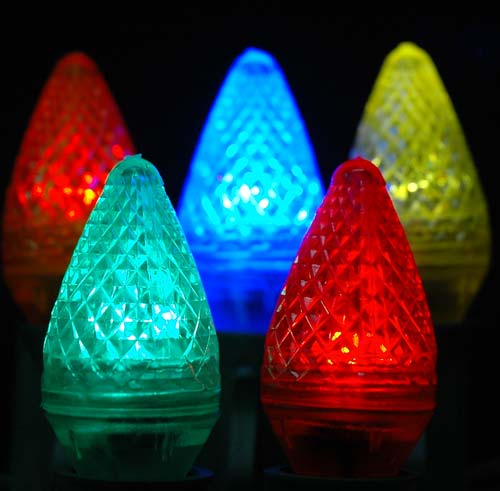 Picture of Dimmable Multi Colored C7 LED Replacement Bulbs 25 Pack