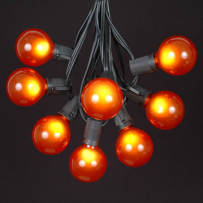 Picture of 25 G50 Globe Light String Set with Orange Bulbs on Black Wire