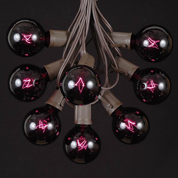 Picture of 25 G50 Globe Light String Set with Black Light Bulbs on Brown Wire
