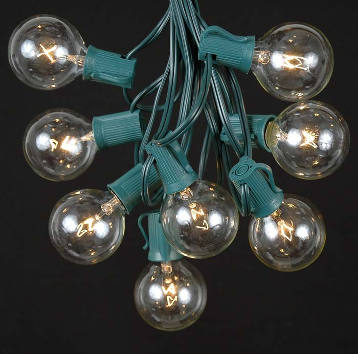 Clear Globe Patio String Lights : Clear Satin G50 Globe/Round Outdoor String Light Set on Green Wire - Novelty Lights, Inc