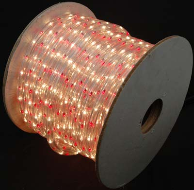 """Picture of Red/Clear 150 Ft Chasing Rope Light Spools, 3 Wire 120v 1/2"""""""