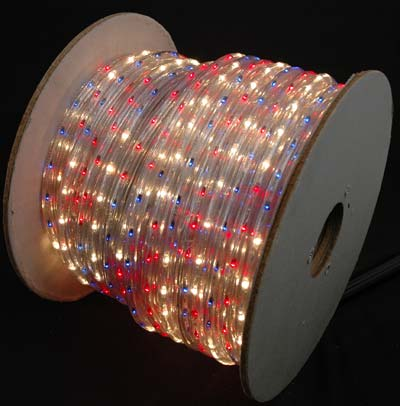 Picture of Red White Blue 150 Ft Chasing Rope Light Spools, 3 Wire 120v 1/2""