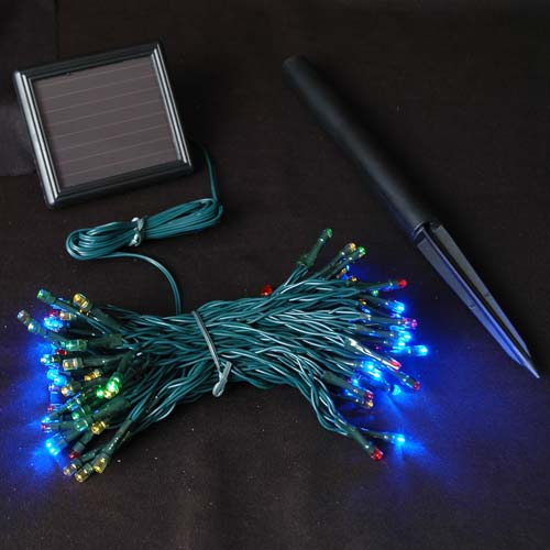 Multi Colored Solar Christmas lights with 100 Bulbs - Novelty Lights Inc