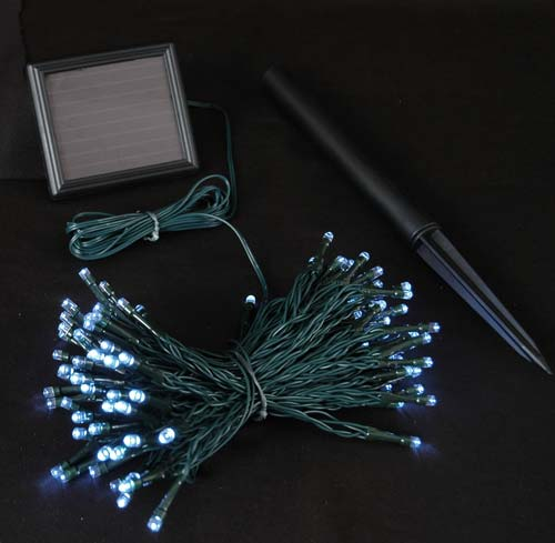 Pure White Solar Christmas lights with 100 Bulbs - Novelty Lights Inc