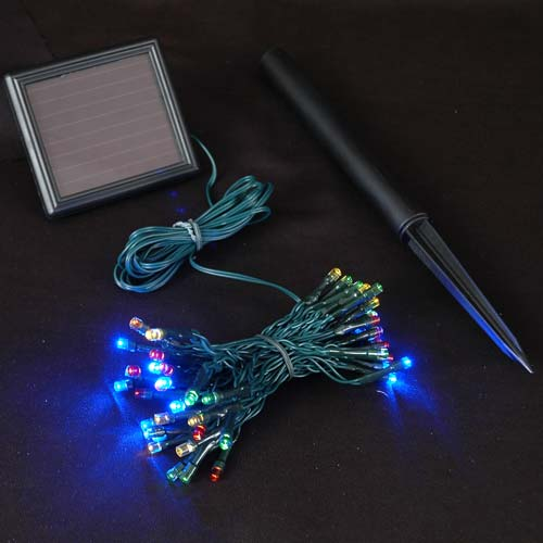 Multi Colored Solar Christmas Lights With 50 Bulbs