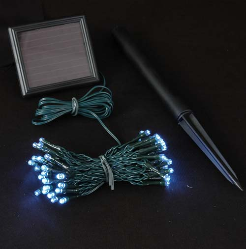 Picture of Pure White LED Solar Powered Lights 50 Light String
