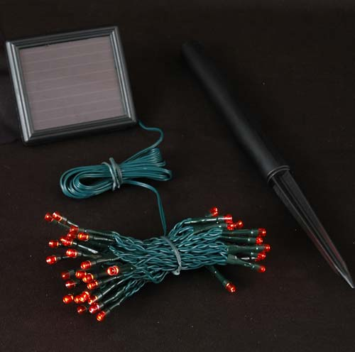 Picture of Red LED Solar Powered Lights 50 Light String
