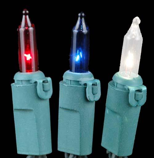 Red White Blue Christmas Mini Lights Set 100 Light Green