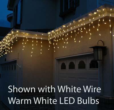 Warm White Led Icicle Lights On White Wire Novelty