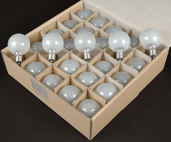 Frosted Satin G50 7 Watt Replacement Bulbs 25 Pack - Novelty Lights Inc