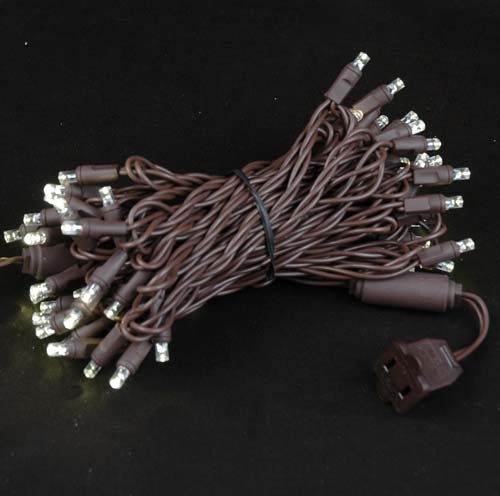 Picture of 50 LED Warm White LED Christmas Lights on Brown Wire