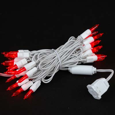Picture of 35 Light Traditional T5 Red LED Mini Lights White Wire
