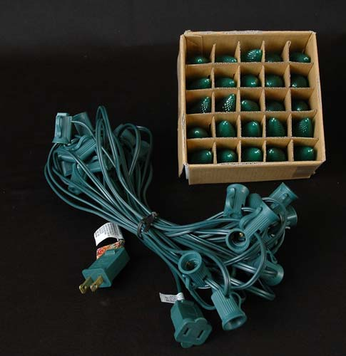 Green LED C7 Outdoor String Light Set on Green Wire - Novelty Lights, Inc