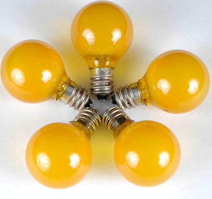 Yellow Satin G30 Globe/Round Outdoor String Light Set on White Wire - Novelty Lights, Inc