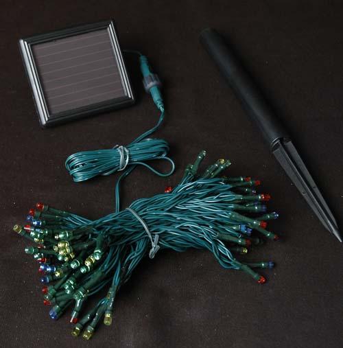 Solar Mini Lights On String : Multi Colored Solar Christmas lights with 100 Bulbs - Novelty Lights Inc