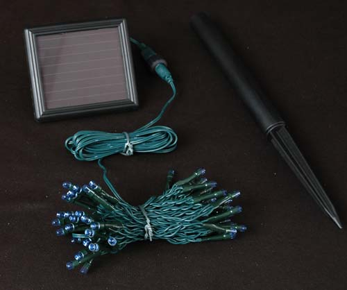 50 Solar Led String Lights Blue : Blue Solar Christmas lights with 50 Bulbs - Novelty Lights Inc