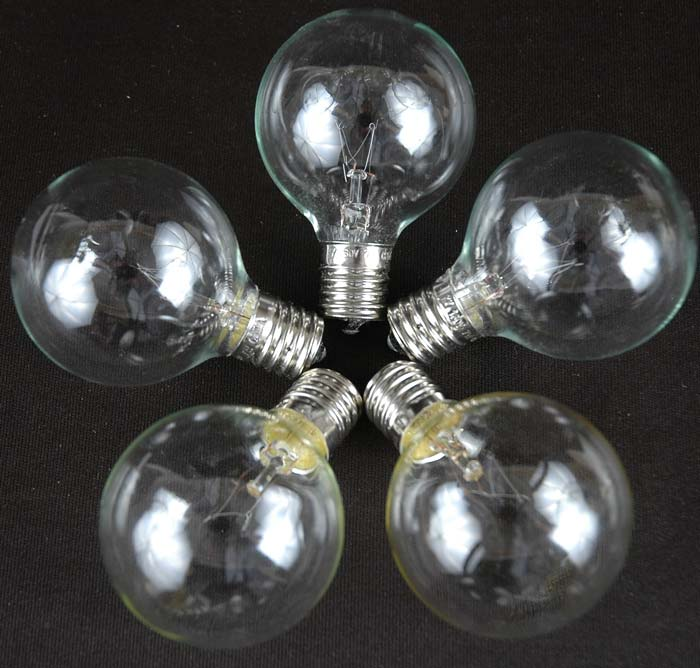 Round Outdoor Lights String: ... Picture of 25 G50 Globe Light String Set with Clear Bulbs on Green Wire  ...,Lighting