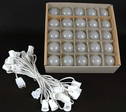 Frosted G50 Globe Round Outdoor String Light Set On White