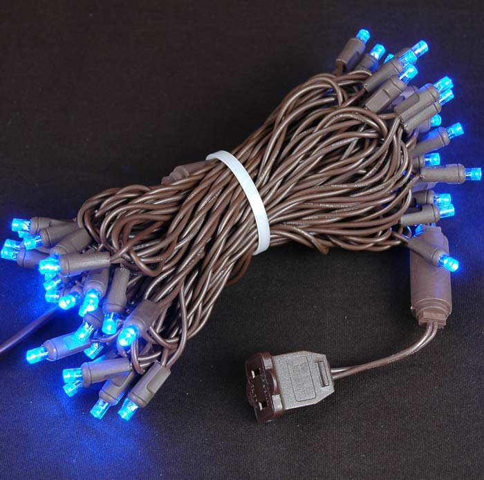 Picture of 50 LED Blue LED Christmas Lights on Brown Wire