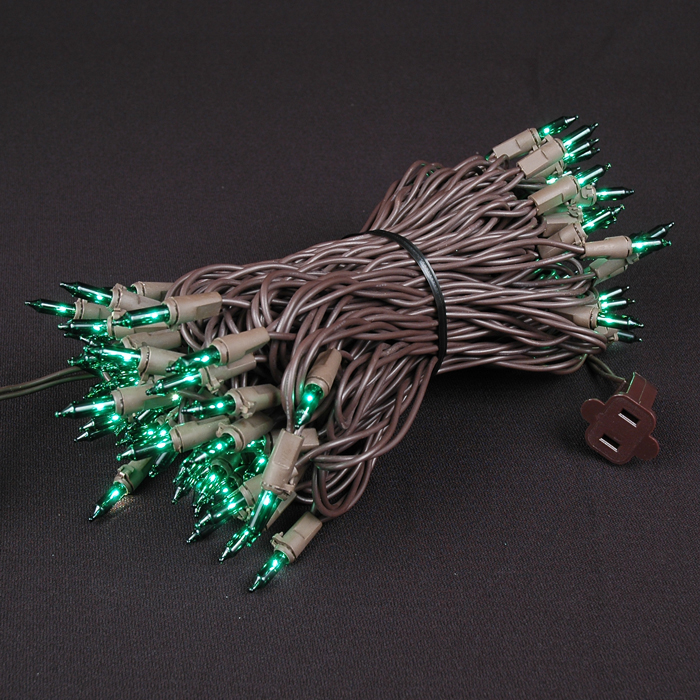 Picture of Brown Wire Green Christmas Mini Lights 100 Light 50 Feet Long