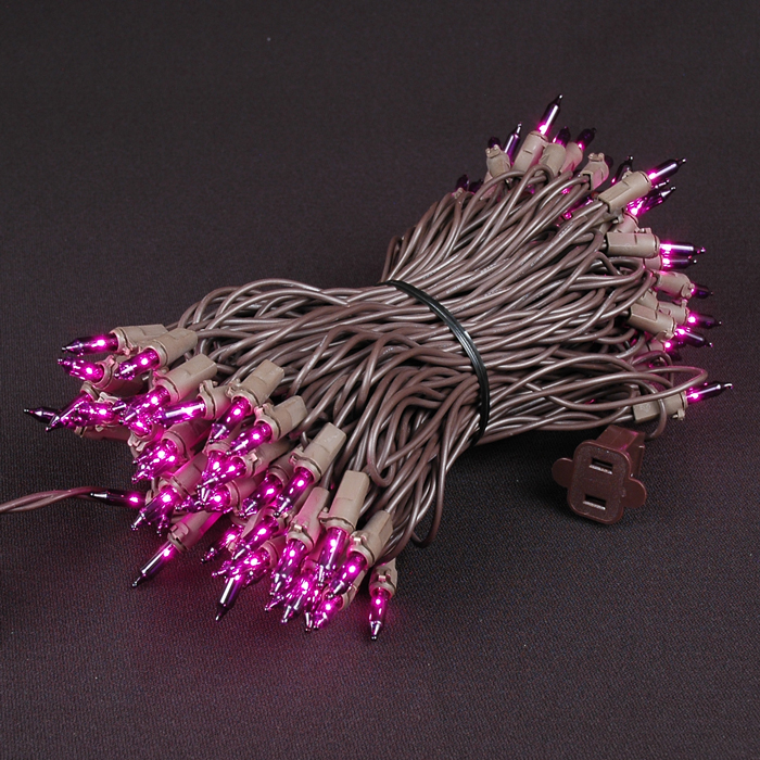 Picture of Brown Wire Purple Christmas Mini Lights 100 Light 50 Feet Long