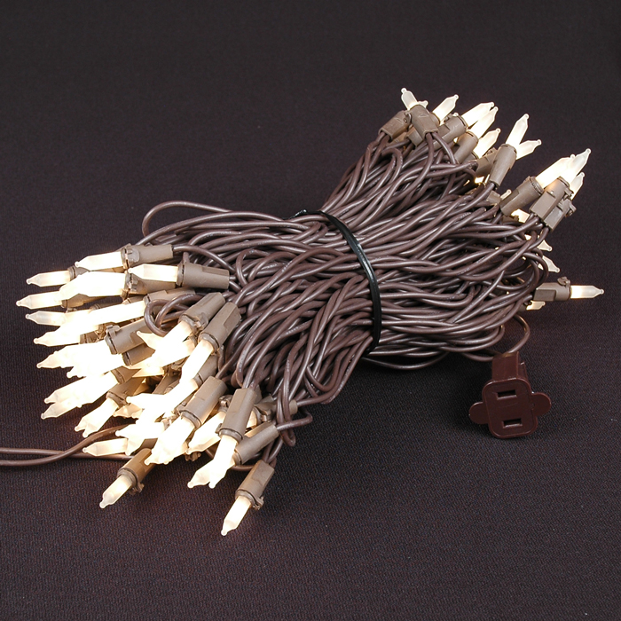 Picture of Brown Wire Frosted White Christmas Mini Lights 100 Light 50 Feet Long