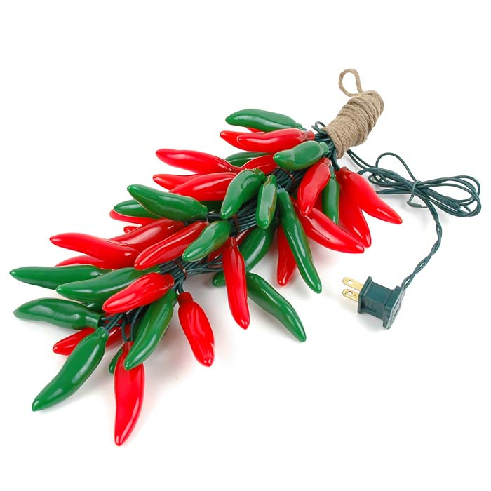 Christmas Red And Green Chili Pepper Light Ristras 16