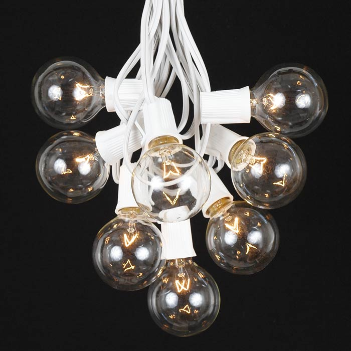 Clear Globe String Lights White Wire : 100 Clear G50 Globe String Light Set on White Wire - Novelty Lights - Inc