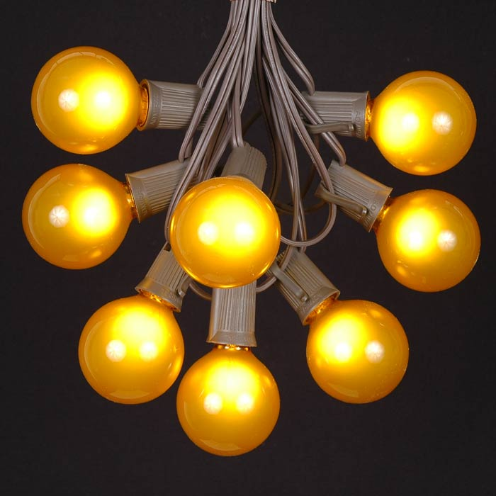 Yellow Globe String Lights : 100 Yellow G50 Globe String Light Set on Brown Wire - Novelty Lights - Inc