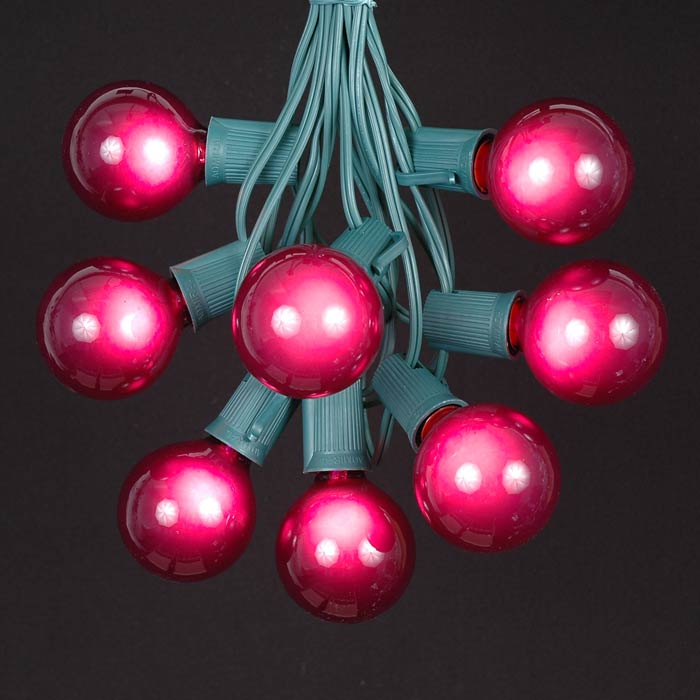 100 purple g50 globe string light set on green wire. Black Bedroom Furniture Sets. Home Design Ideas