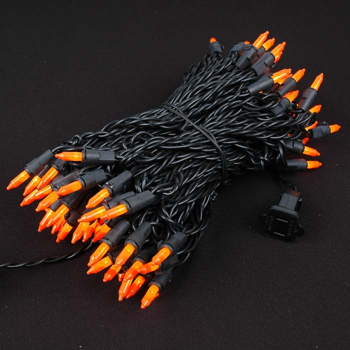 Picture of Black Wire Frosted Orange Christmas Mini Lights 100 Light 50 Feet Long