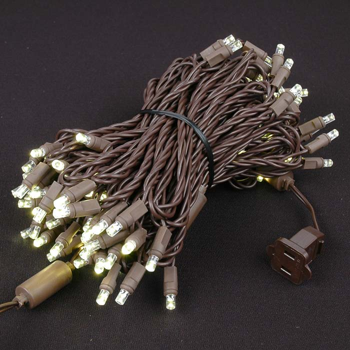 Picture of Commercial Brown Wire Wide Angle 100 LED Warm White 50' Long