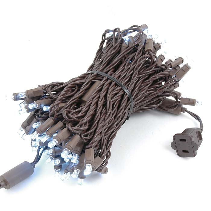 Picture of Commercial Brown Wire Wide Angle 100 LED Pure White 50' Long